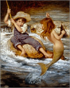 """Jim Daly Artist Hand Signed Fine Art (Small) Canvas Giclee: """"Catch of My Dreams"""""""