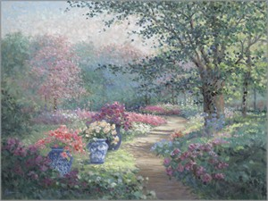 "Rowenna Anderson Artist Personally Signed Canvas Giclee:""Garden Path"""
