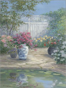 """Rowenna Anderson Artist Personally Signed Canvas Giclee:""""Garden Reflections"""""""