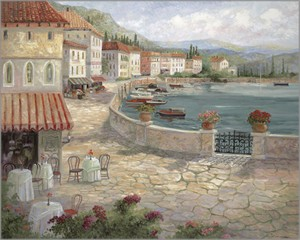 "Rowenna Anderson Artist Personally Signed Canvas Giclee:""Mediterranean Afternoon"""