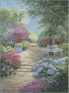 "Rowenna Anderson Artist Personally Signed Canvas Giclee:""Summer Patio"""