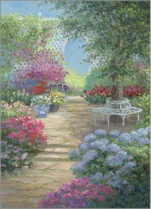 """Rowenna Anderson Artist Personally Signed Canvas Giclee:""""Summer Patio - mini"""""""