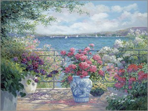 "Rowenna Anderson Artist Personally Signed Canvas Giclee:""Terrace View - mini"""