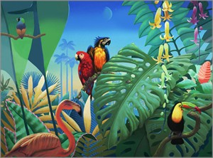 """David Utz Hand Signed and Numbered Limited Edition Canvas Giclee: """"Birds of Paradise"""""""