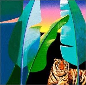 "David Utz Hand Signed and Numbered Limited Edition Canvas Giclee: ""Sunrise Tiger"""