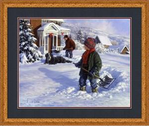 """Robert Duncan Framed Art: """"Shoveling Out"""""""