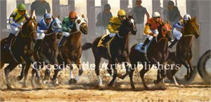 "Grant Hacking Handsigned and Numbered Limited Edition Gallery Giclee Canvas: ""Starting Gate"""