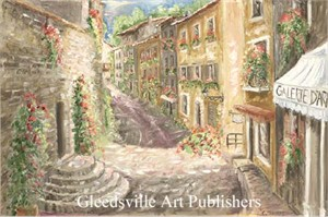 """Catherine Thomas Handsigned and Numbered Limited Edition Gallery Giclee Paper: """"Provence, Street Scene"""""""