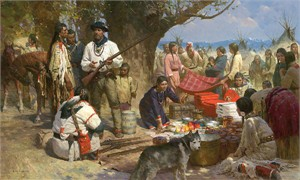 "Z.S. Liang  Handsigned and Numbered MasterWork™Canvas Giclee:""Trading with the Blackfeet, Montana Territory, 1860"""