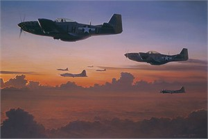 "William S. Phillips Counter Signed and Numbered Limited Edition Print:""The Long Ride Home  P-51D """
