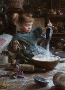 """Morgan Weistling Hand Signed and Numbered Canvas Giclee Edition:""""Flour Child"""""""