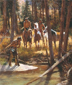 "Howard Terpning Limited Edition Artist Signed and Numbered Giclee on Canvas:""Bear Tracks"""