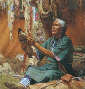 """Howard Terpning Hand Signed and Numbered Limited Edition Canvas Giclee:""""New Doll for My Granddaughter"""""""