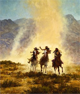 "Howard Terpning Handsigned and Numbered Limited Edition Masterwork™ Giclée Canvas:""Chased by the Devil"""