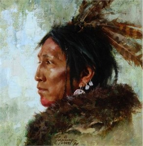 "Howard Terpning Handsigned and Numbered Limited Edition Canvas Giclee:""Hawk Feathers"""