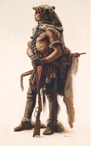 "James Bama Hand Signed and Numbered Limited Edition Gallery Wrap Canvas Giclee:""Northern Cheyenne Wolf Scout"""