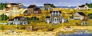 "Charles Wysocki Limited Edition Anniversary Canvas Giclee:""Salty Witch Bay"""