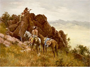 """Howard Terpning Hand Signed and Numbered Limited Edition Canvas Giclee:""""Far Seeing Glass"""""""