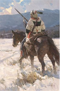 "Z.S. Liang Hand Signed and Numbered Limited Canvas Giclee:""Camp Sentry """
