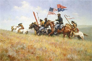 "Howard Terpning Limited Edition Artist Signed Masterwork Canvas Giclee:""Flags on the Frontier"""