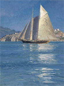 "Christopher Blossom Limited Edition Giclee Canvas: ""Pilot Schooner ""Gracie S."", Becalmed off Alcatraz"""