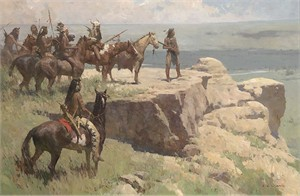 "Z.S. Liang Hand Signed and Numbered Limited Edition Canvas Giclee:""Overlooking Two Medicine River, 1806"""