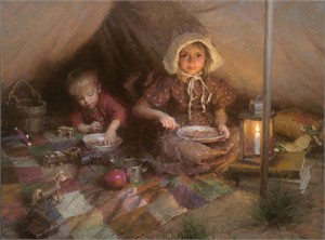 """Morgan Weistling Hand Signed and Numbered Fine Art Canvas Giclee:""""The Campers"""""""