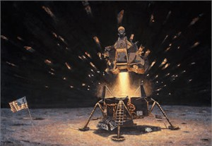 "Alan Bean Handsigned and Numbered Limited Edition Canvas Giclee Print:""The Eagle is Headed Home"""