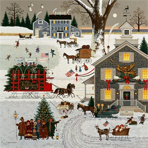 "Charles Wysocki Hand Numbered Limited Edition Gallery Wrap Canvas Giclee:""Cape Cod Christmas"""