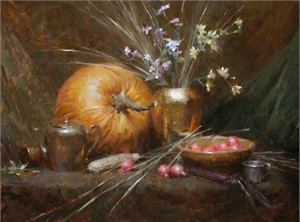 "Morgan Weistling Hand Signed and Numbered Limited Edition Gallery Wrap Canvas Giclee:""Pumpkin"""