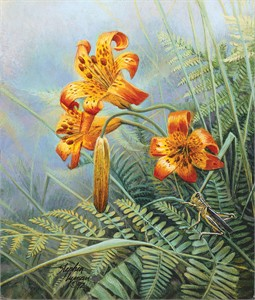 """Stephen Lyman Hand Numbered Limited Edition Giclee on Canvas:""""Tiger Lilies and Grasshopper"""""""