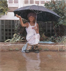 "Steve Hanks Handsigned and Numbered Limited Edition Giclée Canvas:""Catching the Rain"""