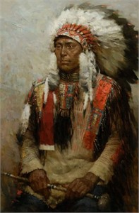 "Z.S. Liang Handsigned and Numbered Limited Edition Giclée Canvas:""Lakota Warrior"""