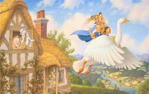 """Scott Gustafson Open Edition Fine Art Canvas Giclée:""""Old Mother Goose"""""""