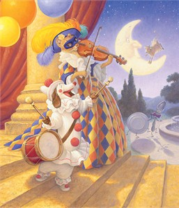 "Scott Gustafson Open Edition Fine Art Canvas Giclée:""Hey Diddle, Diddle"""
