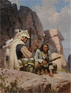 "Z.S. Liang Artist Hand-Signed Limited Edition Giclee Canvas:""Observers Above Fort Phil Kearny, 1868"""