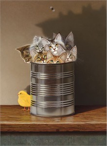 "Braldt Bralds Open Edition Fine Art Canvas Giclée:""Cats in a Can"""