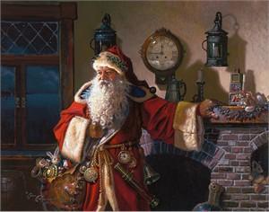 "Dean Morrissey Open Edition Canvas Giclée:""Father Christmas"""