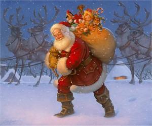 """Scott Gustafson Open Edition Fine Art Canvas Giclée:""""Santa with Reindeer"""""""