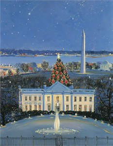 "Sally Caldwell Fisher Open Edition Fine Art Canvas Giclée:""White House at Christmas"""