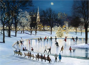 "Sally Caldwell Fisher Open Edition Fine Art Canvas Giclée:""Skating at Frog Pond"""