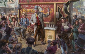 "Morgan Weistling Limited Edition Fine Art Canvas Giclée:""The Snake Oil Salesman"""