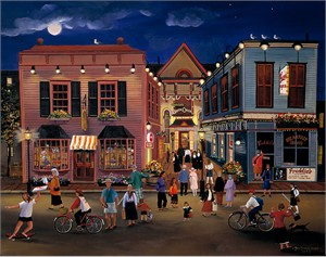 "Sally Caldwell Fisher Open Edition Fine Art Canvas Giclée:""Tourist Town"""