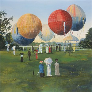 "Sally Caldwell Fisher Open Edition Fine Art Canvas Giclée:""Balloons in the Park"""