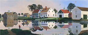 """Sally Caldwell Fisher Open Edition Fine Art Canvas Giclée:""""The Grist Mill Stream"""""""