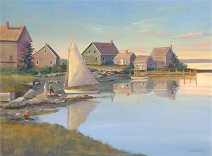 "Sally Caldwell Fisher Open Edition Fine Art Canvas Giclée:""Still Morning Mackeral Park"""