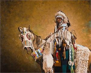 "Edmond Albert Fine Art Open Edition Canvas Giclee:""Crow and Horse"""