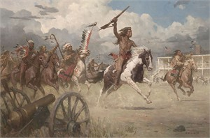 """Z.S. Liang Hand Signed and Numbered Limted Edition Giclée Canvas:""""The Charge of Crazy Horse on Fort Laramie,1864"""""""