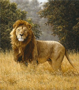 "Simon Combes Hand Numbered Limited Edition Anniversary Giclee on Canvas:""Simba"""