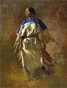 """Howard Terpning 90th Birthday Series Limited Edition Canvas Giclee:""""Shield of Her Husband - Available November 5, 2018"""""""